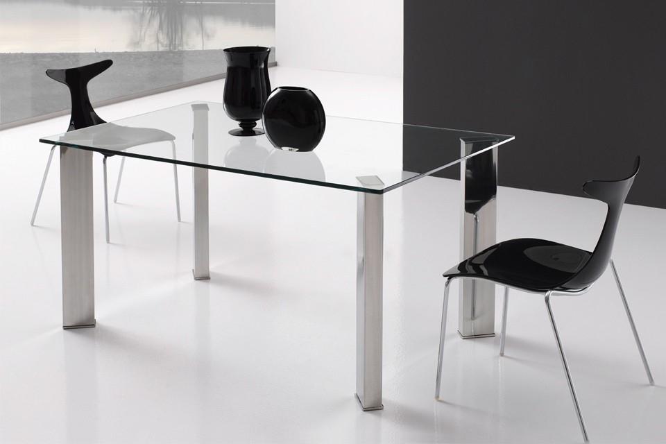 Geshogar mesa comedor en acero y cristal templado modelo for Mesas comedor cristal y acero