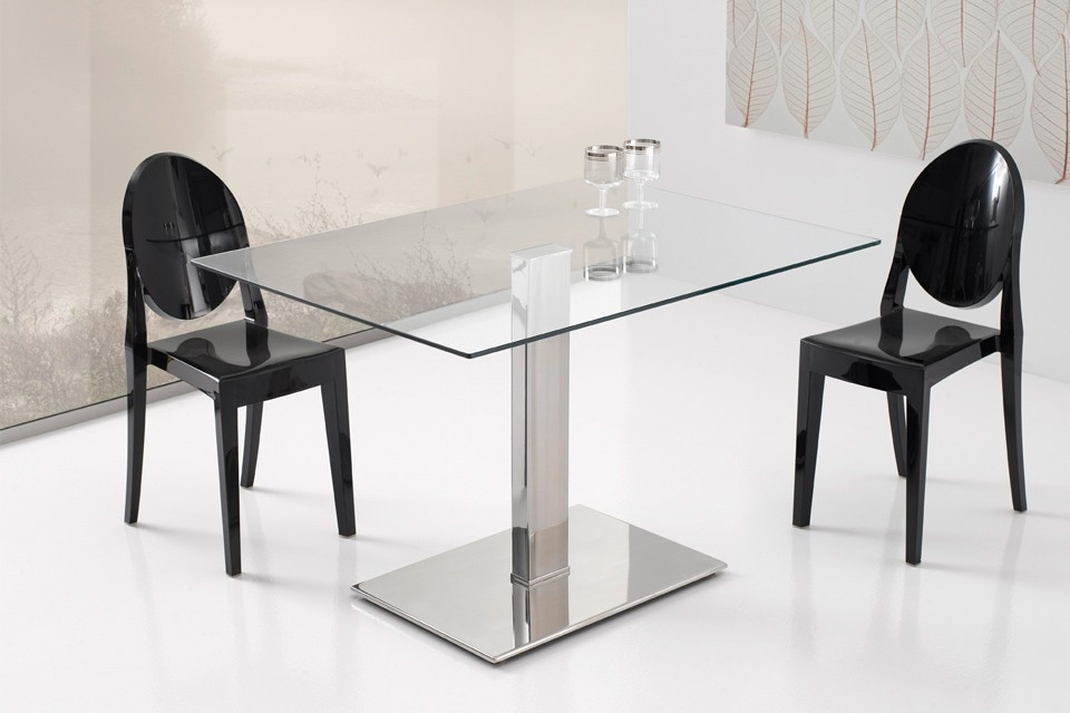 Dining table altinox - Mesas de cristal y acero ...