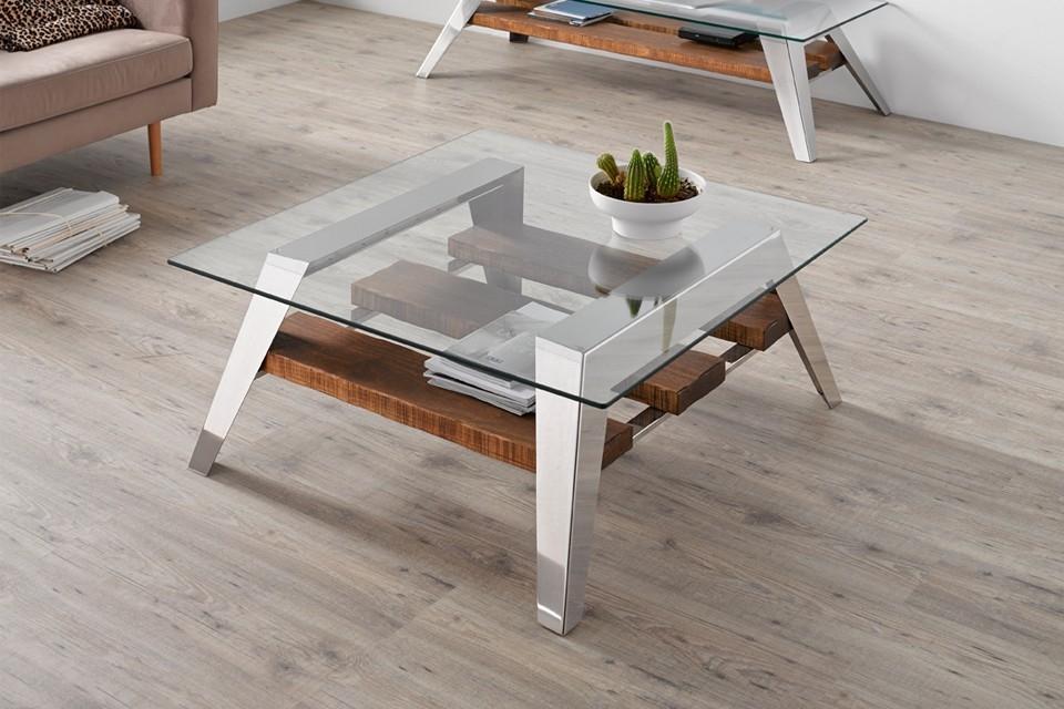 Mesa centro con dise o de estilo n rdico madera acero for Mesas de centro de diseno de cristal