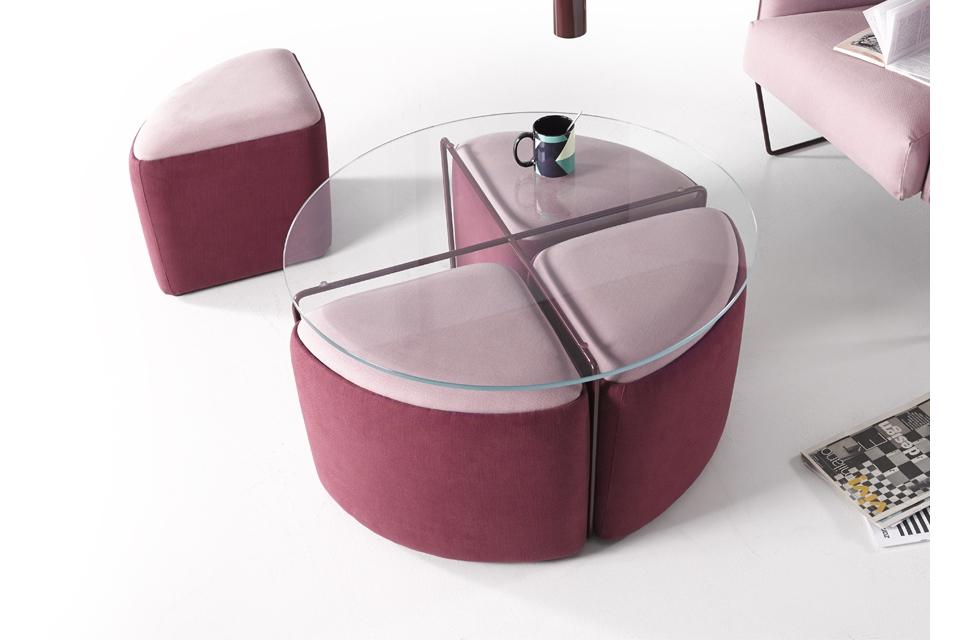 Mesa de centro con puff y estructura varilla metalica hierro y acero - Mesa de centro con puff ...