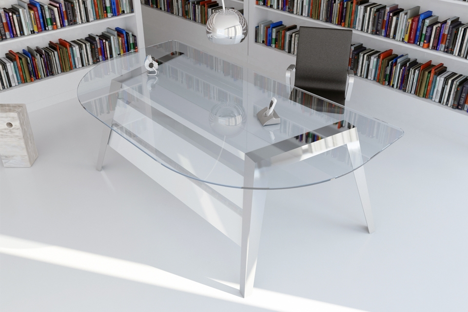 Mesa despacho ovalada con acero inoxidable y madera - Mesas de despacho de cristal ...