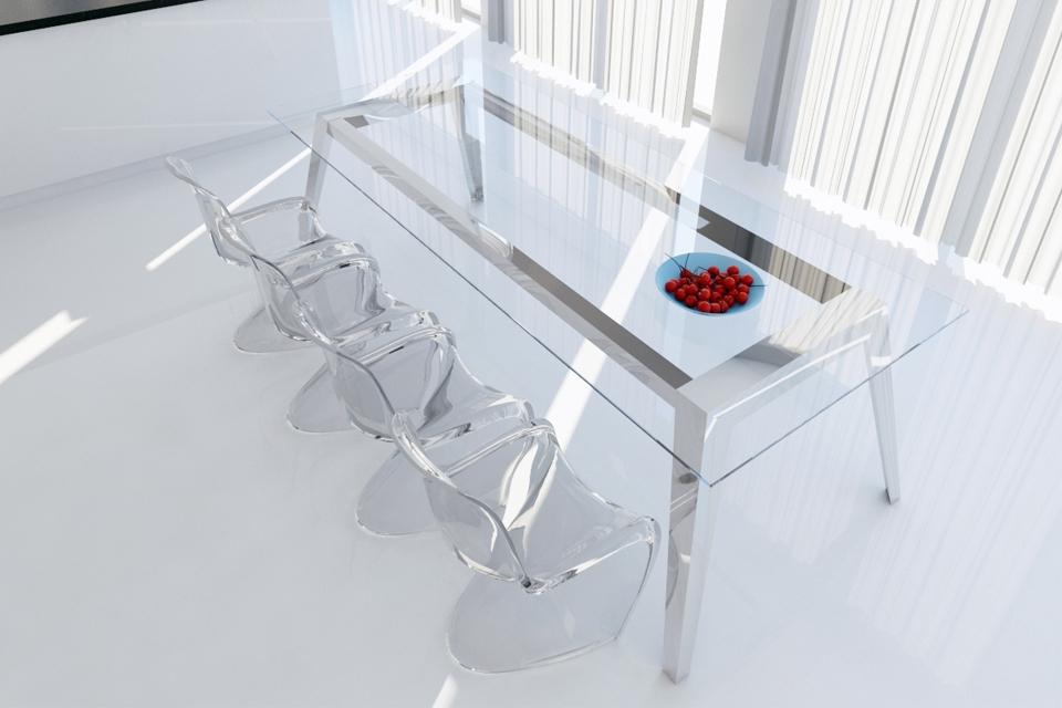 Mesa de acero inoxidable y cristal, estilo nordico